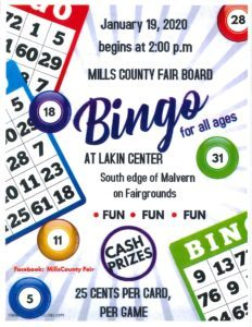 Mills County Fair Board Bingo